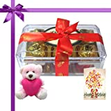 Golden Treasure Of 12pc Truffles Box With Birthday Card And Teddy - Chocholik Luxury Chocolates