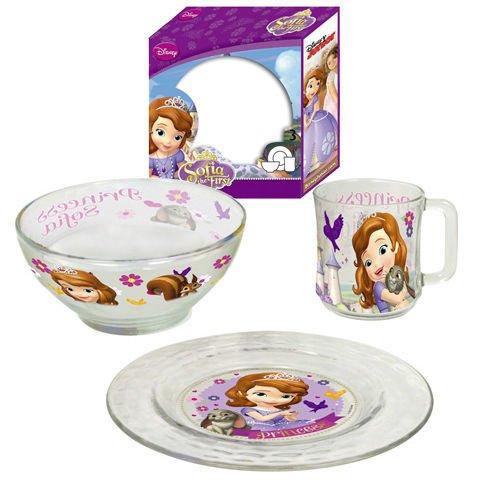 Set Petit Dejeuner 3 Pièces En Verre Princesse Sofia