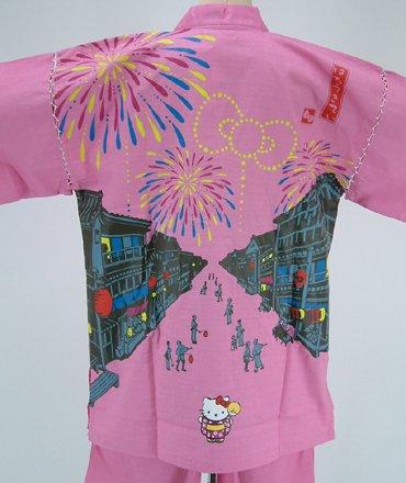 甚平!祭りキティ柄 かすり織ピンク
