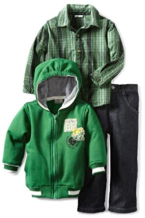 Little Rebels Boys 2-7 3 Piece Authentic Varsity Pant Set, Green, 4T