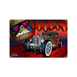 Rat Rod Voodoo Vintage Metal Sign Auto Car Shop Garage Hot Rod 12 X 18 Not Tin