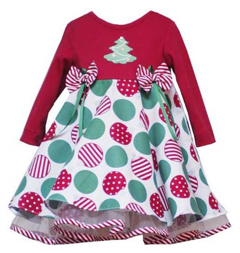 New Long Sleeve Christmas Tree Ornament Dress ~ 2T to 4T ~ Excellent Photo Opportunity!