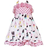 Size-6 RRE-44952S PINK ROLLED ROSETTE DOT CUPCAKE PRINT WOVEN HALTER Special Occasion Girl Birthday Party Dress,S744952 Rare Editions GIRLS