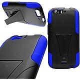 CoverON® Kickstand Hard + Soft Dual Layer Hybrid Case for BLU Life One X L132L - Black Hard Plastic + Blue Soft Silicone