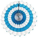 PrettyurParty Light Blue Stripes Paper Fans