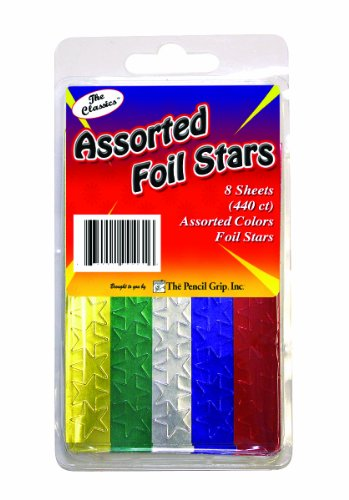 Pencil Grip The Classics Foil Stars Stickers, Assorted Colors, 8 Sheets, 440 Count (TPG-461)