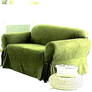 solid suede couch cover 3 pc slipcover set