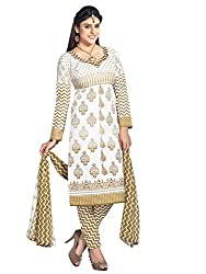 Kanchnar Women's Off-White and Beige Mix Cotton Printed Casual Wear Dress Material,Diwali Great Indian Festival sale Traditional Clothing for Girls,Navratri Special Collection,Gift to Wife,Mom