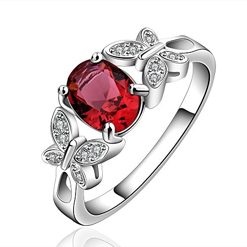 New Arrival 925 Silver Beautiful Ruby Diamond Fashion Band Ring for Women Lady Lovers(Q) (Fashion Diamond Rings compare prices)