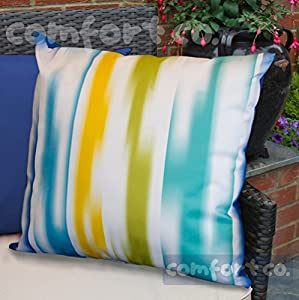 Waterproof Garden Cushions for Chairs - Fibre Filled Cushions for Seats and Benches - Colourful Outdoor Cushion (2, Watercolour Ripple) from Comfort Co®