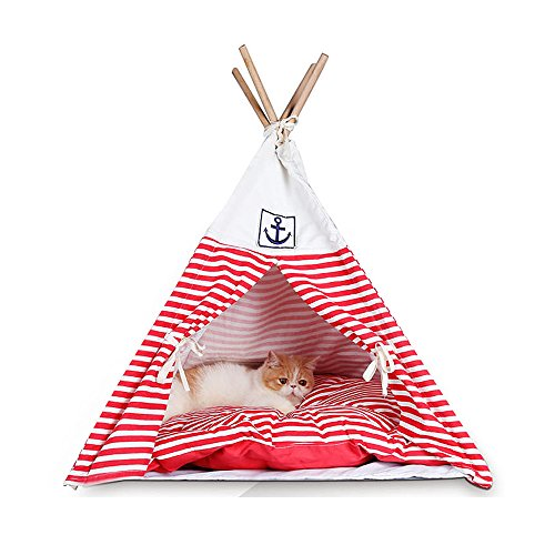 CocoGo® Navy Stripe Style Pet House Teepee Washable Durable Foldable Small Dog and Cat Tent with Bed Mat (Red)