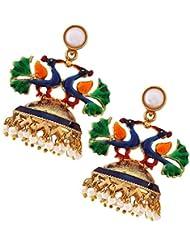 The Jewelbox Peacock Crown Gold Plated Meenakari Jhumki Earring For Women
