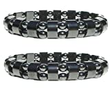 Set Of 2 Men's/Women's Hematite Metal Magnetic Therapy Bracelets S15C3
