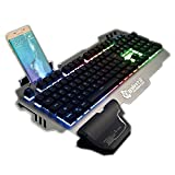 PK-900 RGB Colorful Backlight Gaming Keyboard Mechanical Feeling 104 Keys Waterproof ABS Material Keyboard for PC Laptop (Silver) (Color: Silver)