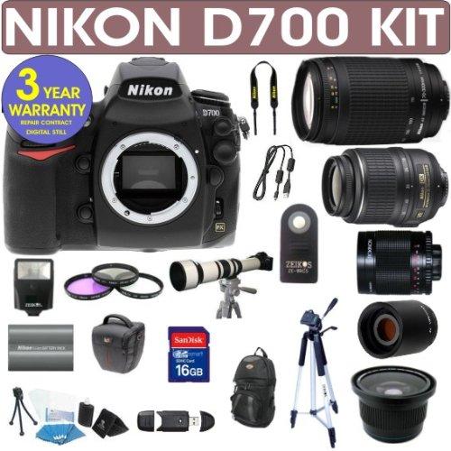 Nikon D700 (Import) Digital Camera + Nikon 18-55Mm Vr Lens + Nikon 70-300Mm Lens + .40X Wide Angle Fisheye Lens + 650-1300Mm Zoom Lens + 500Mm Mirror Lens + 2X T-Mount Telephoto Lens + Mack 3 Year World Wide Warranty