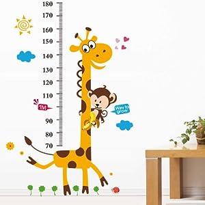 YESURPRISE Vinilo Decorativo Vinilo Infantil Pegatina Pared Vinilo Adhesivo Idea Jirafa Con Regla 60*90cm por YESURPRISE - BebeHogar.com