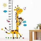 YESURPRISE Vinilo Pegatina Decorativa Infantil Adhesiva Para Pared Dibujos Animados Jirafa Mono Con Regla (Regalo Gratis De Lupa De Regla Separador De