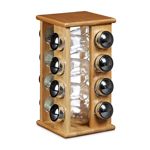 Relaxdays Espositore/dispenser porta spezie con 16 contenitori in vetro per spezie con le seguenti misure HBT: 30 x 19,5 x 19,5 cm, contenitore per spezie con 16 vasetti in vetro, colore naturale
