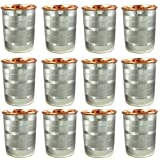 Indian Drinkware Set Copper And Stainless Steel Water Tumbler For Healing, Set Of 12, Height 9 Cm