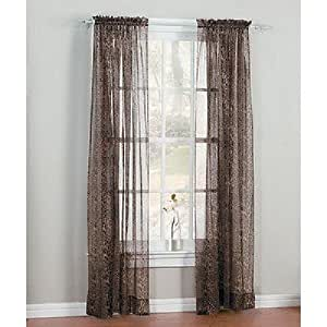 2 Panels Leopard Sheer Window Curtain 55 Wide X84 Long Home Kitchen