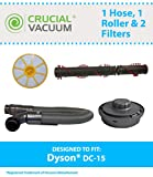 Dyson DC15 Hose, Roller Pre & Post Filter, Part # 909545-06, 909548-01, 904979-02 & 908561-02, Designed & Engineered by Crucial Vacuum