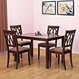 @home by Nilkamal Peak Four Seater Dining Table Set (Beige)