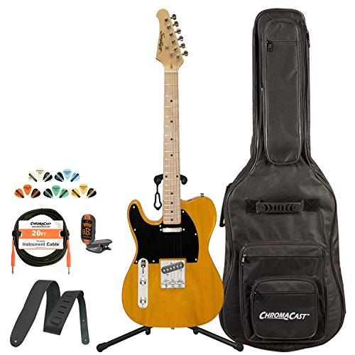 Sawtooth St-Et50-Lh-Bsb-Kit-1 Classic Et 50 Ash Body Left-Handed Electric Guitar - Butterscotch With Gig Bag, Cable, Picks, Strap, Tuner And Stand