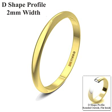 Xzara Jewellery - 18ct Yellow 2mm D Shape Hallmarked Ladies/Gents 1.4 Grams Wedding Ring Band