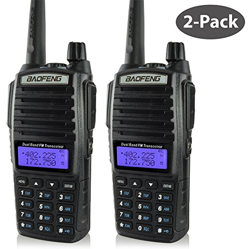 Baofeng 2-Pack Uv-82 (Usa Warranty) Dual-Band 136-174/400-520 Mhz Fm Ham Two-Way Radio, Transceiver, Ht - With Battery, Antenna And Charger