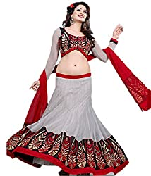Lovely Off white Net Lehenga Choli Showing Zari Embroidery and Stone Work With