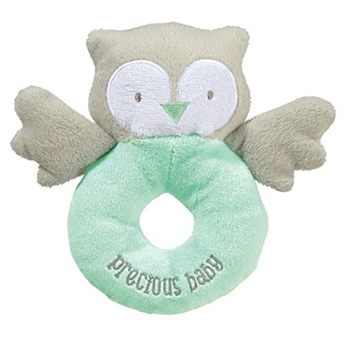"Grasslands Road 6"" Owl Plush Rattle ~Green, ""Precious Baby"" - 1"
