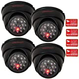 VideoSecu 4 Dummy Security Cameras Fake Dome Surveillance Cameras Simulated Infrared LEDs with Flashing Light C4B thumbnail