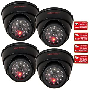 VideoSecu 4 Dummy Security Cameras Fake Dome Surveillance Cameras Simulated Infrared LEDs with Flashing Light C4B