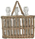 "Hand Woven Grey Brown Willow Basket with 3 Glass Water Bottles, Bottle = 12""H, 36oz"