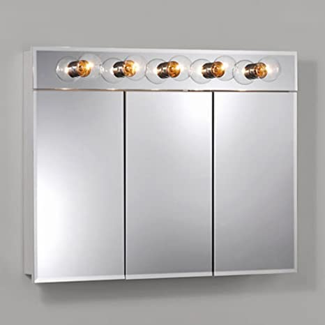 Jensen Medicine Cabinet Ashland Tri-View 5-Light 36W x 28H in. Surface Mount Medicine Cabinet 755443