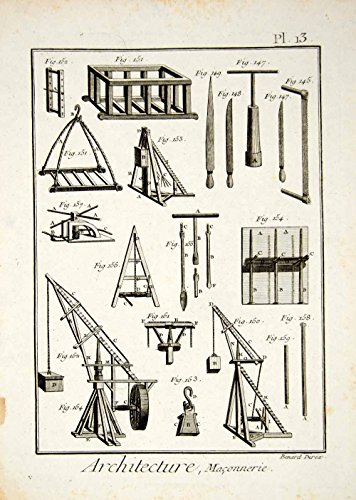 1779-copper-engraving-antique-stone-masonry-tools-saws-crane-scaffold-print-ddr2-original-copper-eng