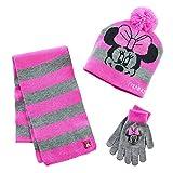 Disney Girls 7-16 Minnie Mouse Striped Hat, Gloves & Scarf Set