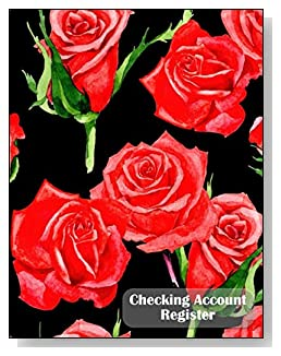 Red Roses Checking Account Register - A beautiful book with wide lines to easily track all your checking account activity without having to write tiny and cram everything into those little check register booklets.