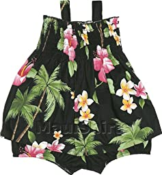 RJC Baby Girls Hawaiian Island Paradise Flower Elastic Tube Top 2pc Set Black 6 months