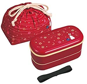 JDT.62R - Bento lunchbox 620ml - boite repas japonaise Tsuki Hana rouge ovale 2 étages + sac
