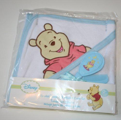 Disney Winnie the Pooh Hooded Bath Towel & Brush & Comb Set - Blue - 1