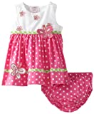 Blueberi Boulevard Baby-girls Newborn Dots Applique Flower Sundress