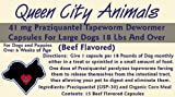 Queen City Animals Beef Flavored Praziquantel Tapeworm Wormer Capsules For Dogs 18 Pounds And over. Fifteen (15) Capsules. The Same Active Ingredient As The Major National Brands! For Medium to Large Dogs. Not For Little Dogs.