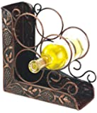 Old Dutch International 93/4 Inch x 43/4 Inch x 103/4 Inch Antique Embossed 3 Bottle Wine Rack Bookend