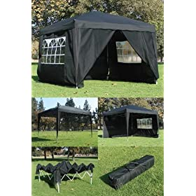 10 x 10 BLACK CANOPY GAZEBO FOLDING TENT INSTANT POP UP