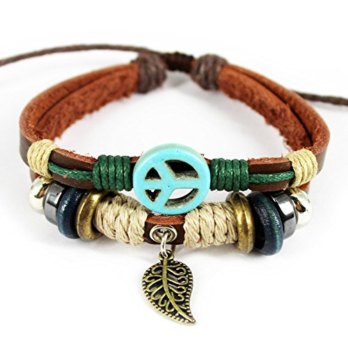 Real Spark Plane Patterns Wood Beaded Adjustable Length leaf pendant Single Leather Wrap Bracelet (Cyan)