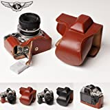Tan Handmade Genuine Camera Full Leather Case Bag Cover for Nikon DF (Bottom Open-able)