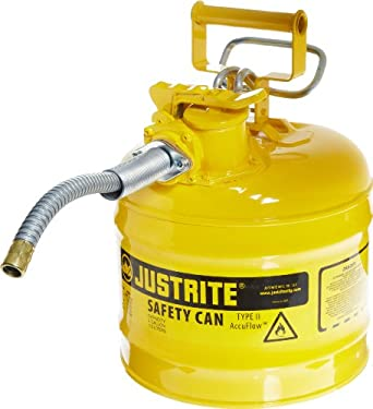 "Justrite AccuFlow 7220220 Type II Galvanized Steel Safety Can with 5/8"" Flexible Spout, 2 Gallons Capacity, Yellow"