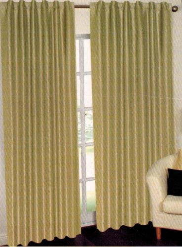 Ivory United Curtain Vintage Faux Silk Blackout Window Panel Pair 74 by 63