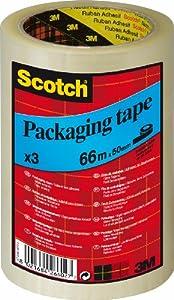 3M CT5066T3 Scotch Verpackungsklebeband, transparent, 3 Rollen